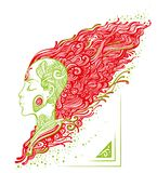 Girl with tattoos and fiery hair. Vector graphic girl profile with tattoos in green with developing red hair Stock Image