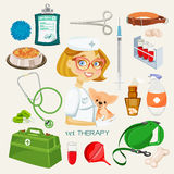 Vector graphic icon set of vet and pet supplies Stock Images