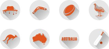 A Set of Flat Icons of Australia. royalty free stock images