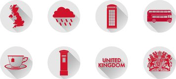 A Set of Flat Icons of the UK. royalty free stock photography