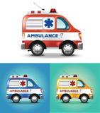 Vector graphic illustration ambulance car blue orange yellow. Unrealistic illustration of an ambulance car in three colours Royalty Free Stock Photo