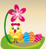 Little chicken and eggs Royalty Free Stock Image