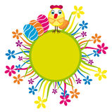 Easter card with chick and flowers. Vector graphic illustration of beautiful colored Easter eggs and flowers with cute chicken Stock Photo