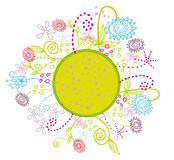 Cartoon flowers circle garden. Vector graphic illustration with beautiful colorful stylized flowers growing from green circle Stock Photo