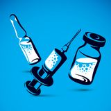 Vector graphic illustration of bottle, ampoule with medicine and Stock Image