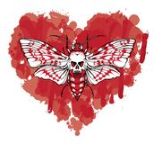 Butterfly Dead head on abstract red heart. Vector graphic illustration of a butterfly Dead head with a skull-shaped pattern on the thorax. White moth on abstract vector illustration