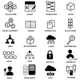 Block chain web icon set. Vector graphic illustration. Flat or 3D icons.n Royalty Free Stock Image