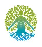 Vector graphic illustration of human, individuality emerging fro. M water wave and surrounded by eco green leaves. Wellness and harmony metaphor, restoring to Stock Images