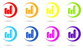 Set of circle icons with 3D diagram or chart in rainbow colors. stock illustration