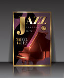 Vector graphic illustration jazz concert poster with piano in brown color Royalty Free Stock Photo