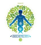 Vector graphic illustration of muscular human depicted as DNA sy Stock Photos
