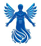 Vector graphic illustration of muscular human, individual made w. Ith bird wings. Pure water is free life, Poseidon the god of sea and defender of all waters Royalty Free Stock Photo