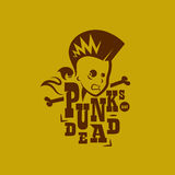 Vector graphic illustration punk kids with sign. A silhouette of a male punk rock singer in two colors, with a sign royalty free illustration