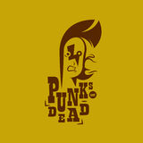 Vector graphic illustration punk kids with sign. A silhouette of a male punk rock singer in two colors, with a sign stock illustration