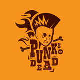 Vector graphic illustration punk kids with sign. A silhouette of a male punk rock singer in two colors, with a sign vector illustration