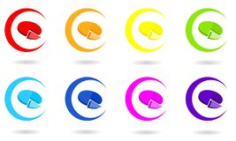 Set of circle icons with 3D pie chart in rainbow colors. royalty free illustration