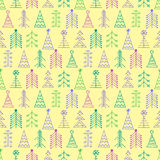 Vector graphic illustration, seamless pattern. Seamless vector pattern with christmas tree. Colorful winter background with decorative hand drawn fir tree Stock Image