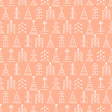 Vector graphic illustration, seamless pattern. Seamless vector pattern with christmas tree. Coral winter background with decorative hand drawn fir tree. Graphic Stock Image