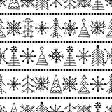 Vector graphic illustration, seamless pattern. Seamless vector pattern with christmas tree and snowflakes. Black and white winter background with decorative hand Royalty Free Stock Image