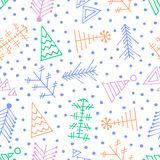 Vector graphic illustration, seamless pattern. Seamless vector pattern with christmas tree and snowflakes. Colorful winter background with decorative hand drawn Stock Images