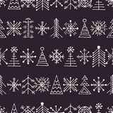 Vector graphic illustration, seamless pattern. Seamless vector pattern with christmas tree and snowflakes. Dark blue winter background with decorative hand drawn Stock Images