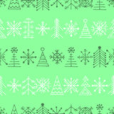 Vector graphic illustration, seamless pattern. Seamless vector pattern with christmas tree and snowflakes. Green winter background with decorative hand drawn fir Stock Photography