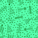 Vector graphic illustration, seamless pattern. Seamless vector pattern with christmas tree and snowflakes. Green winter background with decorative hand drawn fir Stock Image