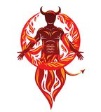 Vector graphic illustration of strong horned wicked male, body s. Ilhouette surrounded by a fireball. Demonic infernal creature, Satan Royalty Free Stock Photography