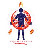 Vector graphic illustration of strong male, body silhouette stan. Ding. Fire person as bunch of the powerful energy covered with a fireball Stock Photography