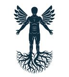Vector graphic illustration of strong male, body silhouette stan. Ding on white background and made using tree roots and bird wings. Tree of life metaphor Stock Photography