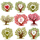 Vector graphic illustration of trees with red heart. And empty copy space, You are free to write your text here. Eco botany single elements collection isolated Royalty Free Stock Images