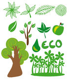 Eco symbols. Vector graphic image with set of ecological symbols Royalty Free Stock Photo
