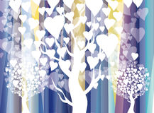 White heart trees on blue stripes Royalty Free Stock Image