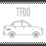 Vector graphic linear taxi car. Illustration. Royalty Free Stock Images