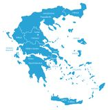 Vector Map of Greece with Regions. Vector graphic map of Greece with regions; blue on white royalty free illustration