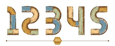 Vector graphic number in a set 12345. Vector graphic alphabet in a set 123, with color wood vintage style Royalty Free Stock Image