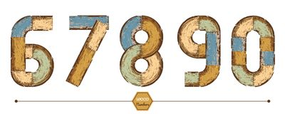 Vector graphic number in a set 67890. Vector graphic alphabet in a set 67890, with color wood vintage style Stock Photo