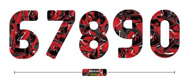 Numbers Abstract Red color style in a set 67890 stock illustration