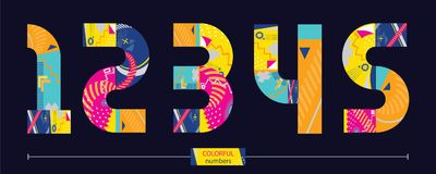 Vector graphic number in a set 12345. Vector graphic numbers in a set 1,2,3,4,5, with colorful geometric style Stock Photo