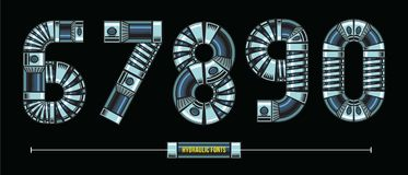 Numbers Hydraulic style in a set 12345 fonts comic vector. Vector graphic numbers in a set 1,2,3,4,5 with Hydraulic comic font style vector illustration