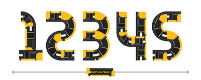 Number Modern Tech style in a set 12345. Vector graphic numbers in a set 1,2,3,4,5, with Modern Tech Yellow color style stock illustration
