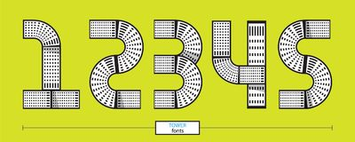 Numbers tower geometric style in a set 12345. Vector graphic numbers in a set 1,2,3,4,5, with tower line design style Royalty Free Stock Images