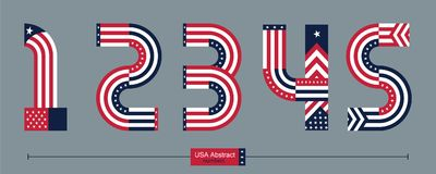 Number USA flag abstract style in a set 12345. Vector graphic numbers in a set 1,2,3,4,5, with USA flag abstract style Royalty Free Stock Images