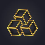 Vector graphic optical illusion / geometric cube symbol for your company in gold. Vector graphic geometric optical illusion abstract shape symbol for your vector illustration