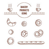 Vector graphic original icon set of bakery products Stock Photography
