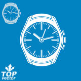 Vector graphic pocket watch illustration, invert version include Stock Image