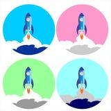 Set Flat Space Shuttle Rocket Circle Icon. Vector graphic. Rocket Circle Icon vector illustration