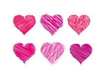 Vector graphic scribbled hearts. Royalty Free Stock Photography