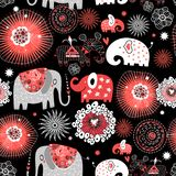 Vector graphic seamless pattern with love elephants. Among abstract patterns royalty free illustration