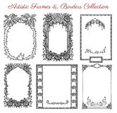 Vector graphic set with antique frames and old borders Stock Photo